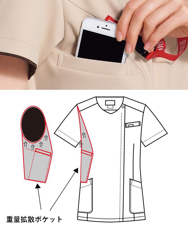 持ち運ぶ機会の多い携帯電話の収納ポケット付き。重みを分散する独自の設計で肩こりを防ぎ、長時間持ち運ぶ際の悩みも解消。