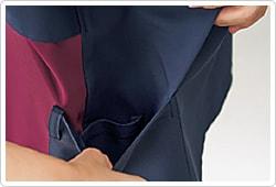 底が無く細いポケット内にホコリが溜まらない、衛生的なスルーポケットを両腰のポケット内に。
