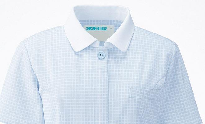 清涼感のある衿と袖口の白配色と格子柄の組み合わせ。<img