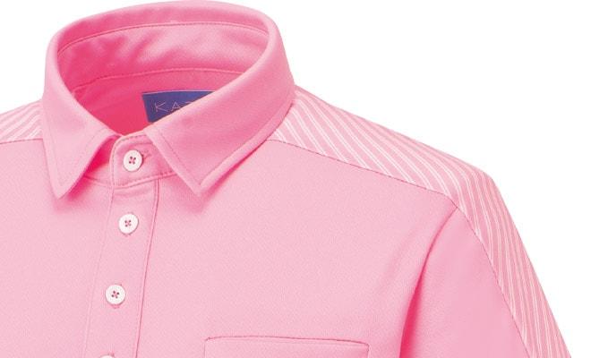 衿元から袖口までを斜め使いのボーダーで切り替えたデザイン。