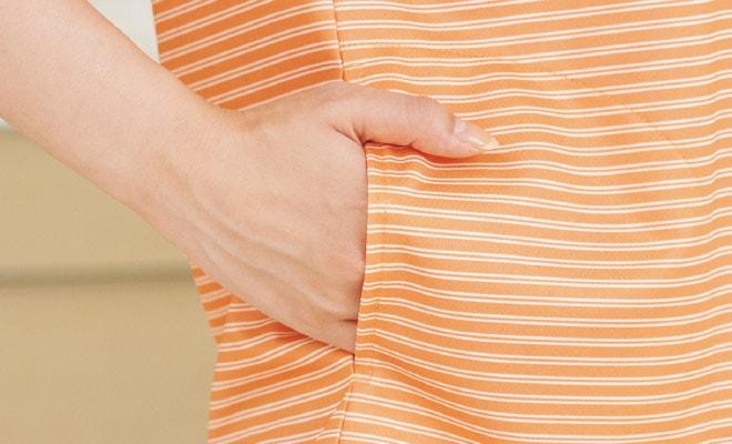 すっきり見えてしっかり収納できる両腰のスリットポケット。