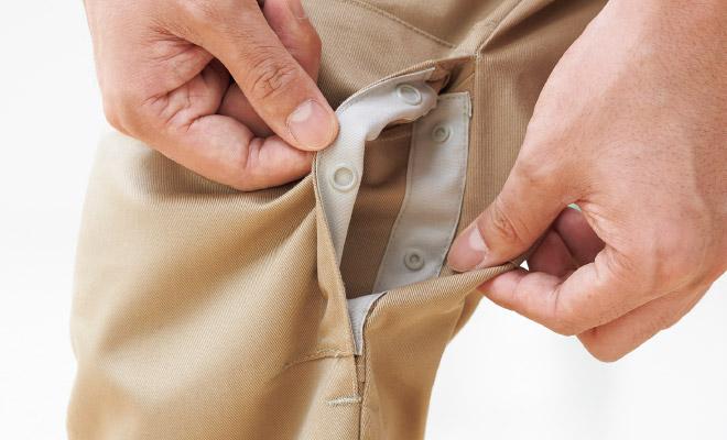 内側から出し入れ可能な膝当てポケット付き。お手持ちの膝当て、緊急時にはお手持ちのタオルを入れることで膝の擦りむきを防ぐことができます。