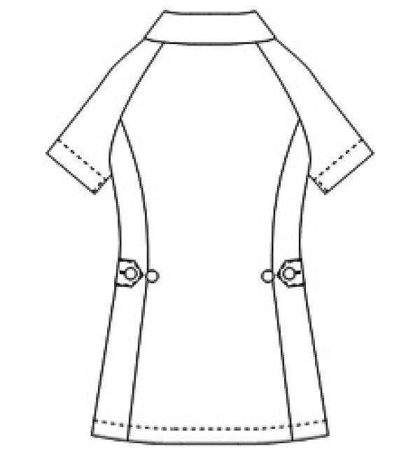 070 ソフトトリコットレディスジャケット半袖バックスタイル
