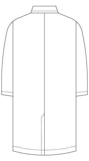 118-18 メンズシングルコート診察衣長袖バックスタイル