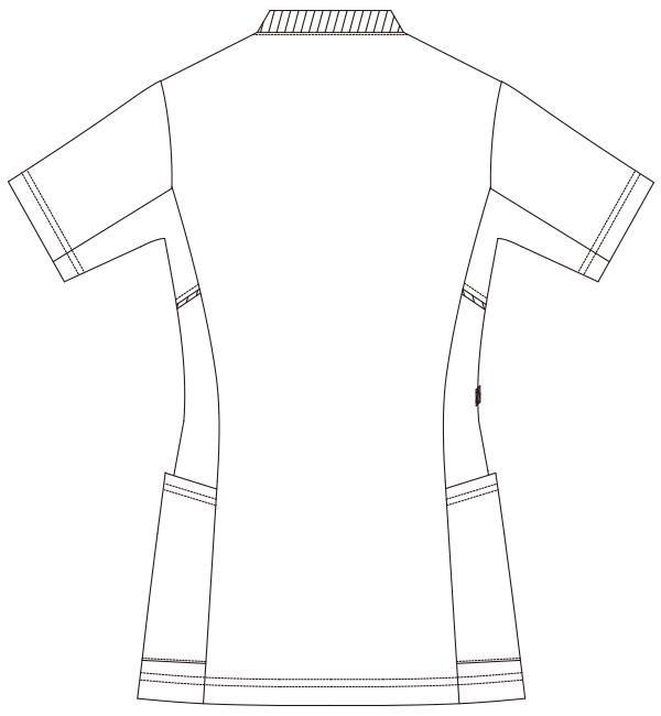986 レディススクラブジャケット半袖バックスタイル
