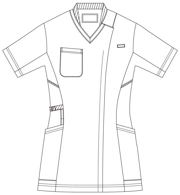 986 レディススクラブジャケット半袖フロントスタイル