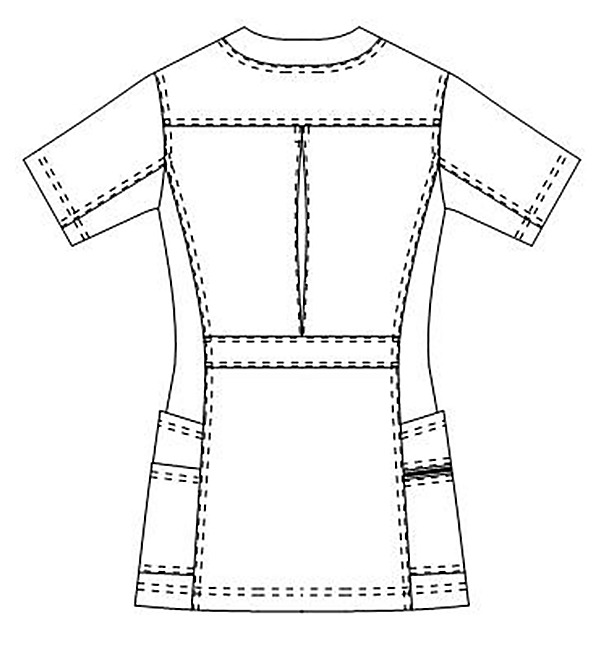 SMS009 アディダスレディススクラブ半袖バックスタイル