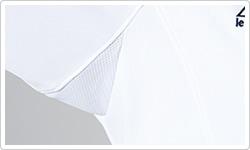 脇は、通気性のよいメッシュ素材のマチ仕様