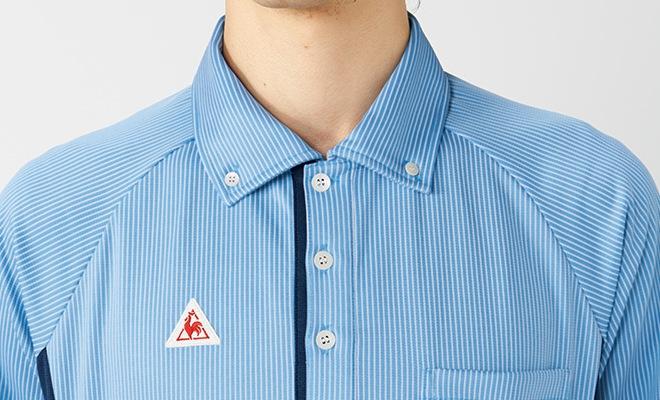 第一ボタンを開けても襟が広がりにくく、きちんとした印象のボタンダウンカラー。ルコックスポルティフのワッペンがアクセントに。