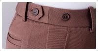 ゴム入りのサイドベルトはボタンでウエストを調節できます