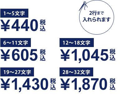 1〜5文字¥400/6〜11文字¥550/12〜18文字¥950/19〜27文字¥1,300/28〜32文字¥1,700