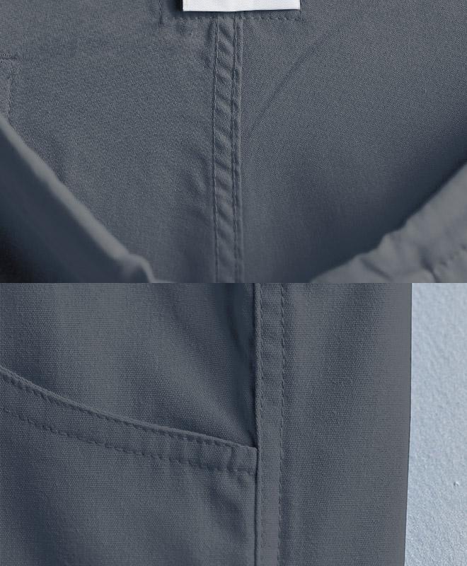 度重なる着用、洗濯、乾燥を考えた上で負担がかかりやすい部位は全て二重強化縫製等を施しているため破けづらく長持ちする構成。