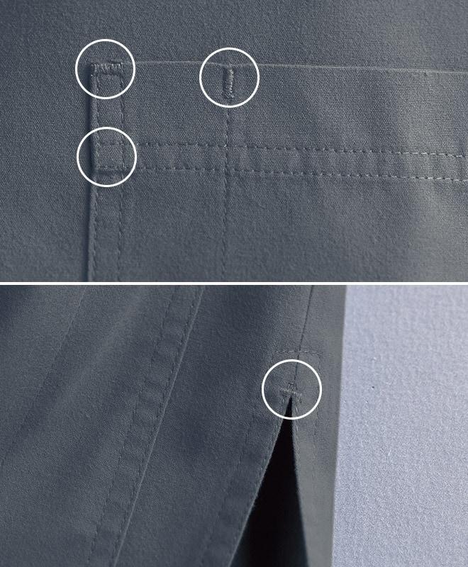 ポケットやサイドスリットなどの各ストレスポイントはバータック強化縫製されているために安心。