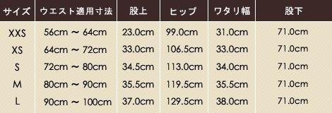 SS-Z1016 7ポケットカーゴパンツサイズ表