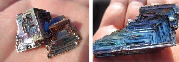 完成した ビスマス結晶 ビスマス鉱石 ビスマスカップ ビスマスプリン ビスマスの紹介です 夏休みの自由研究に特に人気の実験です