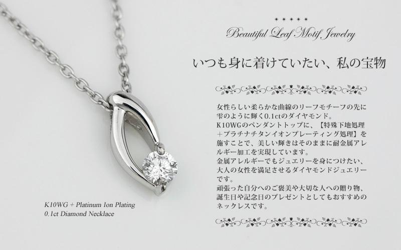 K10WG / チタン ダイヤモンド ネックレス (耐金属アレルギーコーティング・アレルギークリア加工) 4月の誕生石ペンダント