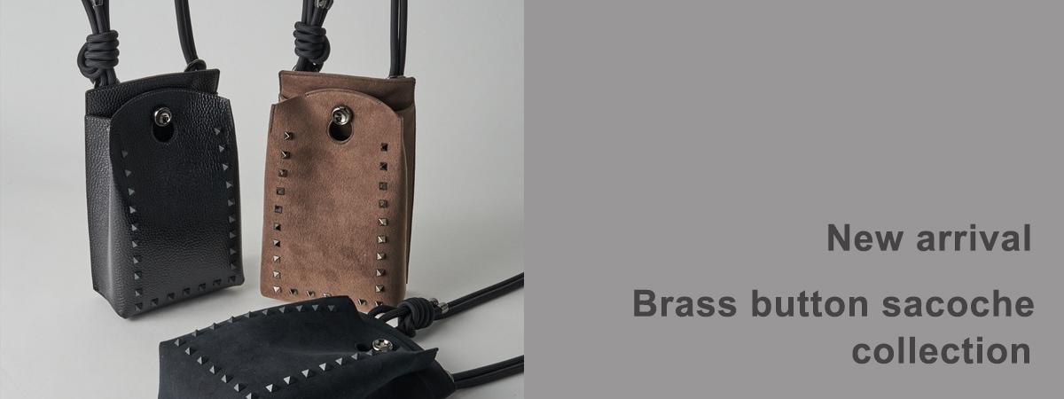 New arrival Brass button sacoche studs