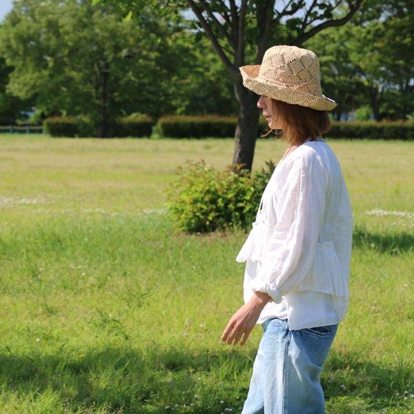 Sans Arcidet(サンアルシデ)の帽子ラフィアハットFANY HAT MC