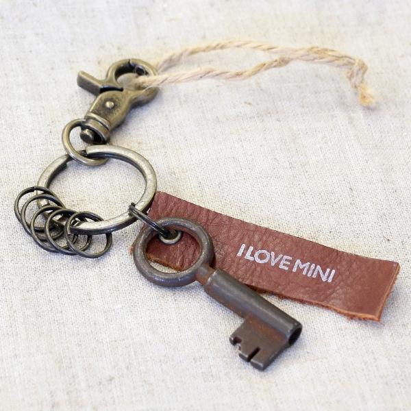 アンティークキー付きMINI用キーホルダー(ベルギーの古い鍵-1)