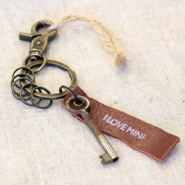 アンティークキー付きMINI用キーホルダー(イギリスの古い鍵-2)