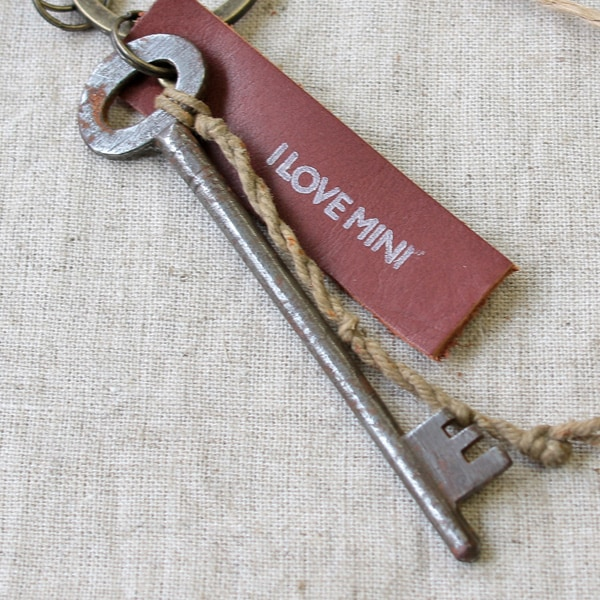 アンティークキー付きMINI用キーホルダー(イギリスの古い鍵-10)