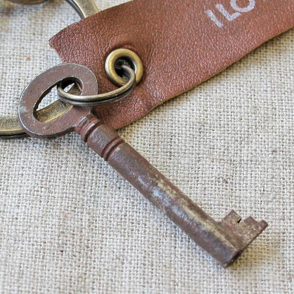 アンティークキー付きMINI用キーホルダー(イギリスの古い鍵-5)