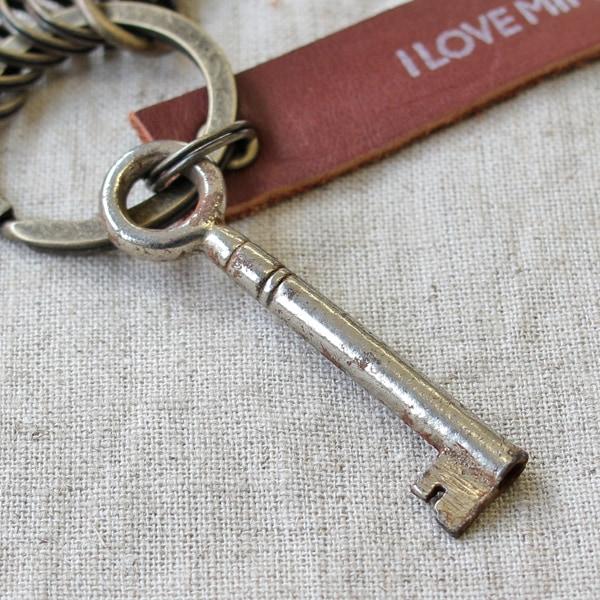 アンティークキー付きMINI用キーホルダー(イギリスの古い鍵-7)