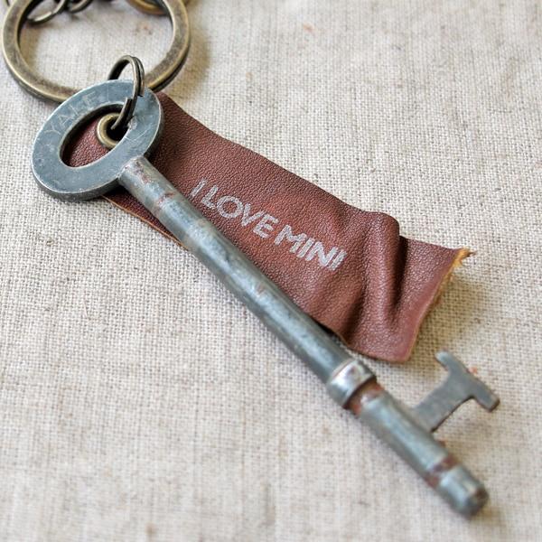 アンティークキー付きMINI用キーホルダー(イギリスの古い鍵-8)