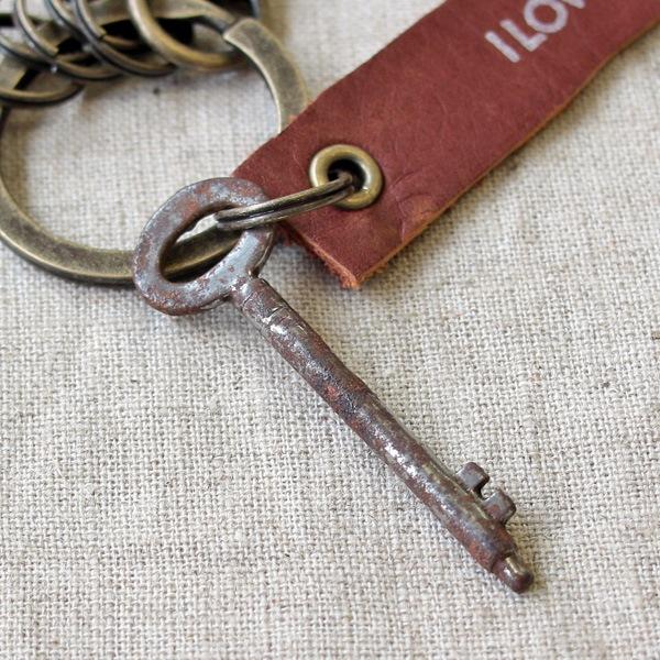 アンティークキー付きMINI用キーホルダー(イギリスの古い鍵-9)