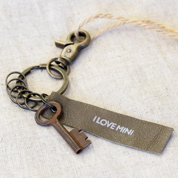 アンティークキー付きMINI用キーホルダー(インドの古い鍵-1)