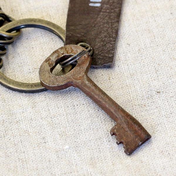 アンティークキー付きMINI用キーホルダー(インドの古い鍵-2)