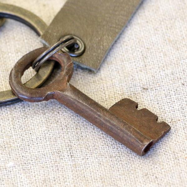 アンティークキー付きMINI用キーホルダー(インドの古い鍵-3)