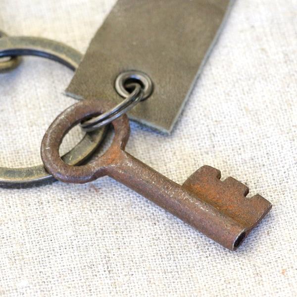 アンティークキー付きMINI用キーホルダー(インドの古い鍵-4)