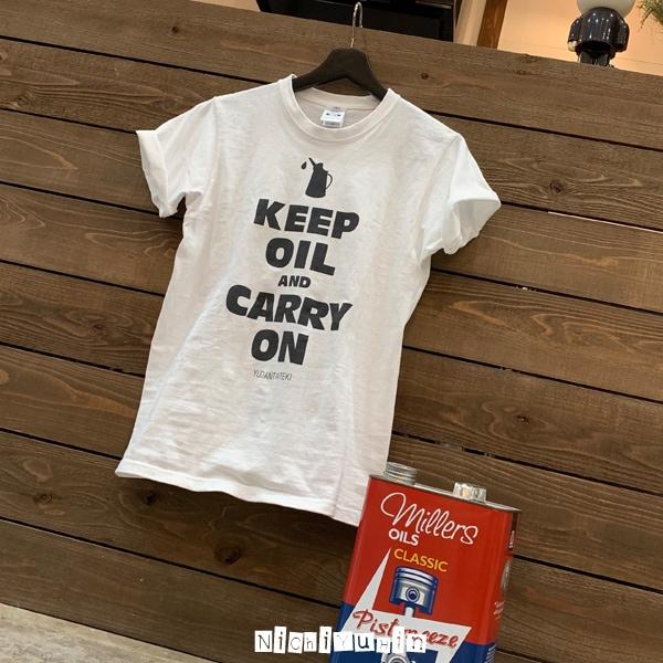 クラシックミニはオイル交換が大切「油断大敵Tシャツ」