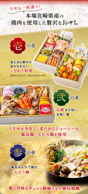 本場宮崎県産の鶏肉を使用した贅沢なおせち