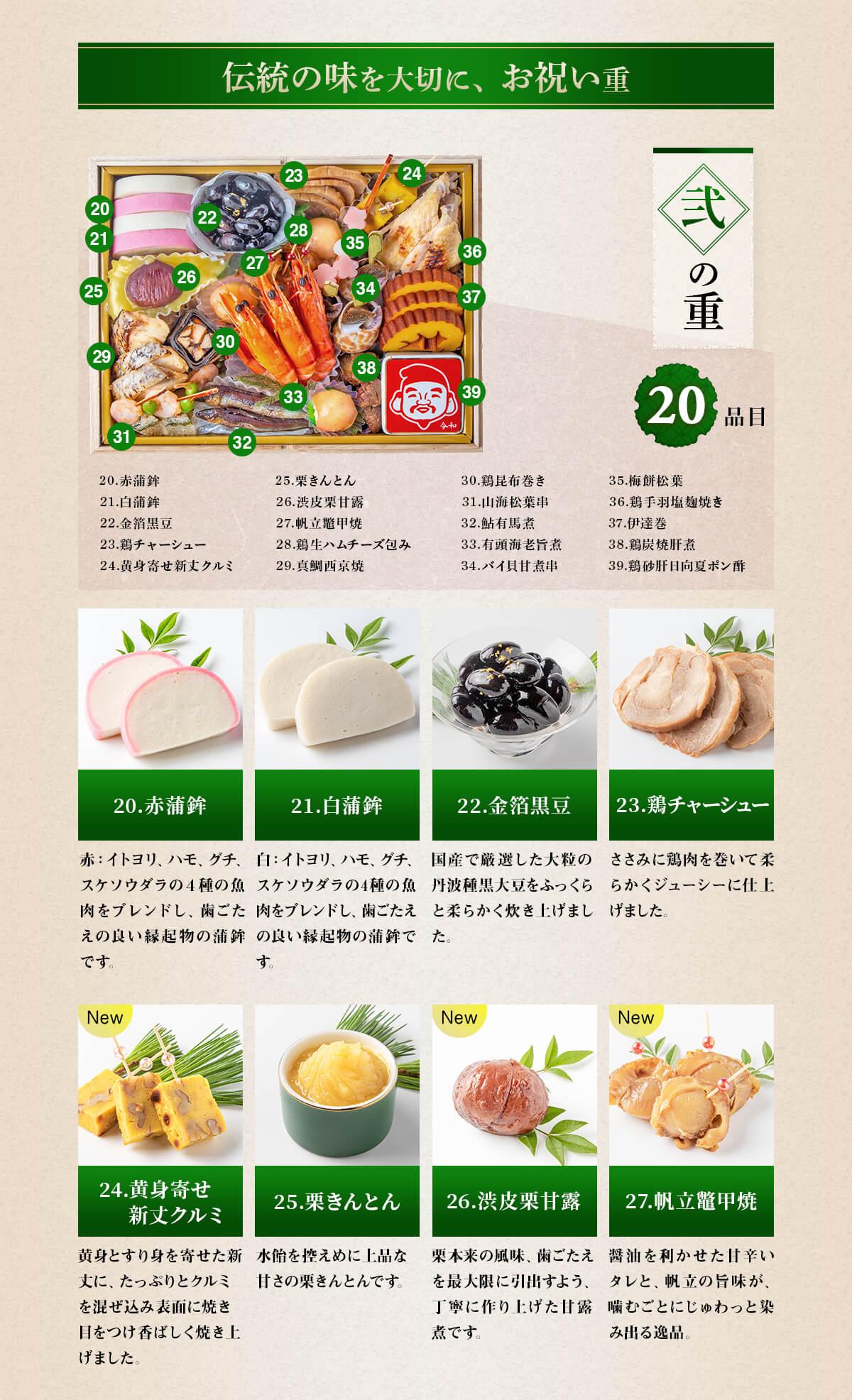 伝統の味を大切に、お祝い重 弐の重20品目