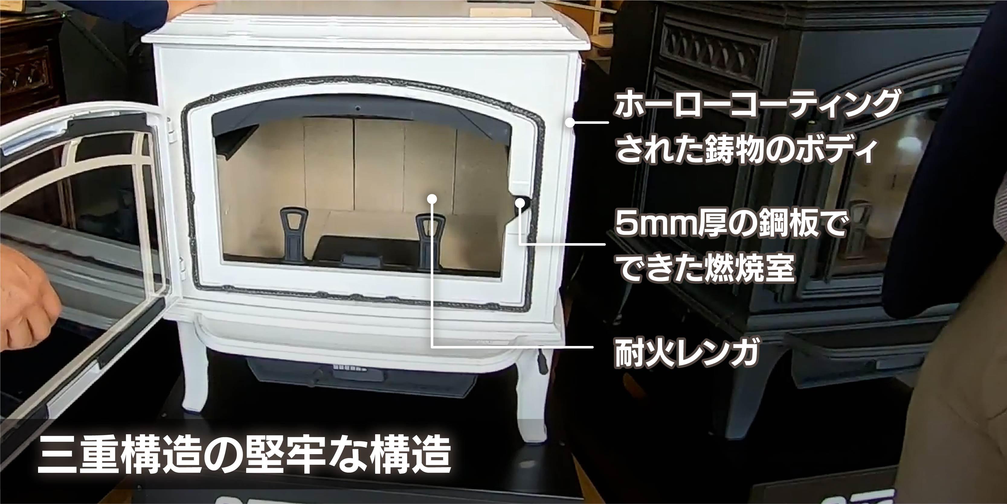 鋳物の意匠・鋼板の燃焼室・耐熱レンガ