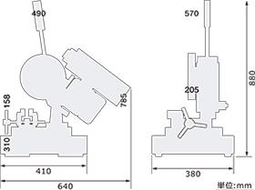 金属切断用帯鋸盤寸法図