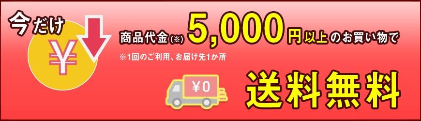 1回のお買いもの、お届け先1ヶ所あたり、5000円以上のお買いもので送料無料!