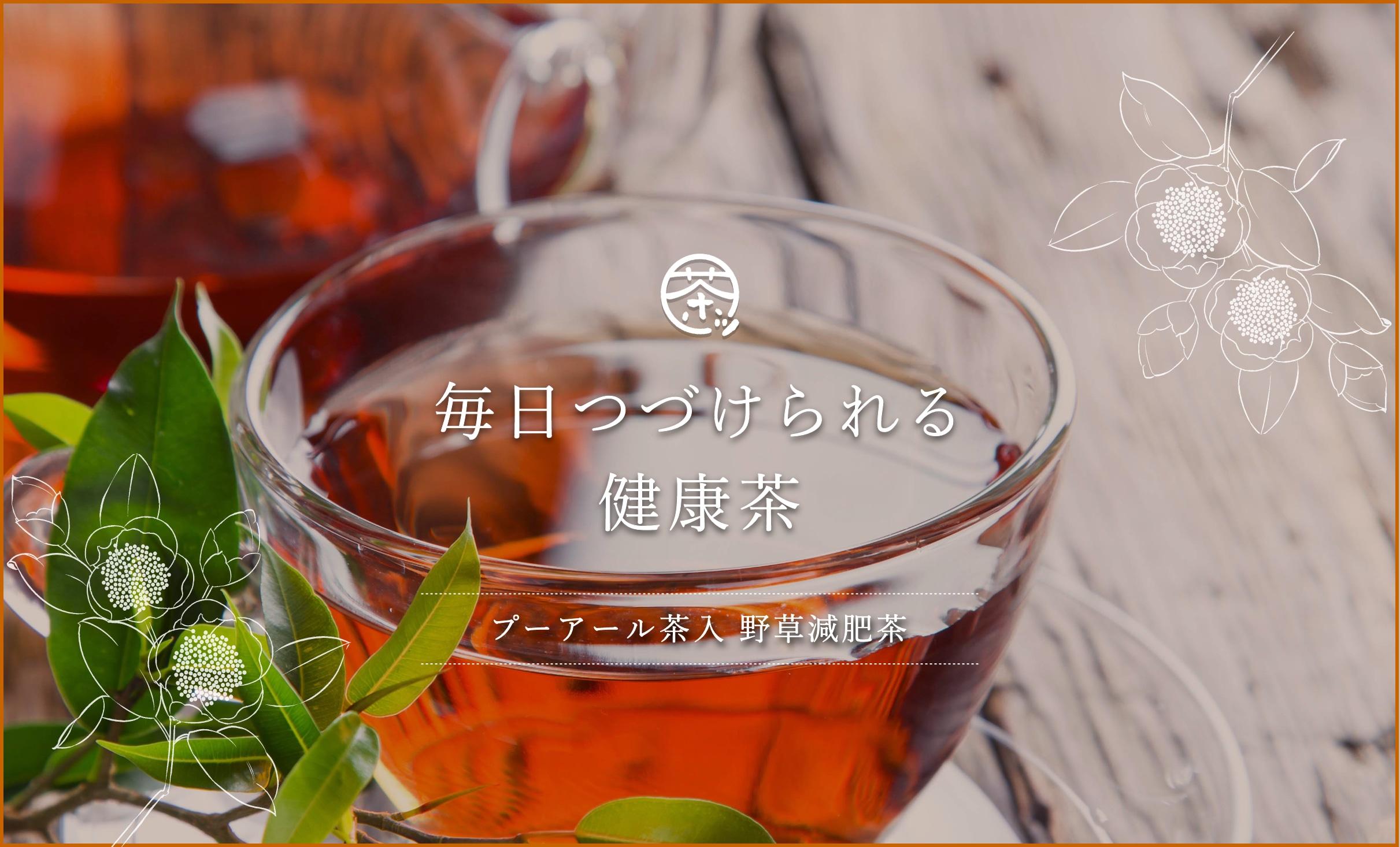 毎日つづけられる健康茶 プーアール茶入 野草減肥茶