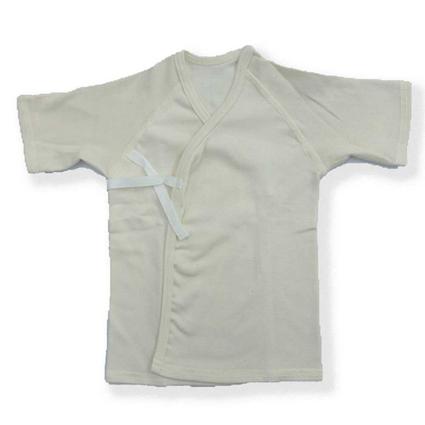 画像:半袖長肌着リブ 白 (新生児用)癒しのコットンシリーズ