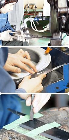 画像:包丁の製造工程