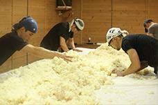 蒸した米は麹室(こうじむろ)で、何度も手入れをしながら麹にする
