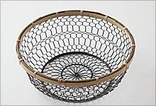 手編みかご 銅(黒メッキ)×竹|中