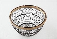 手編みかご 銅(黒メッキ)×竹|小