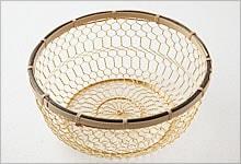 手編みかご 銅(金メッキ)×竹|中