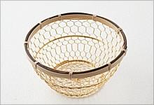 手編みかご 銅(金メッキ)×竹|小