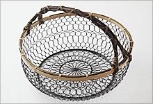 手付手編みかご 銅(黒メッキ)×竹|大