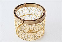 おしぼり入れ 銅(金メッキ)×竹|金