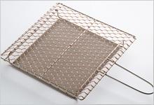 銅手編み 手付焼網 銅×ステンレス